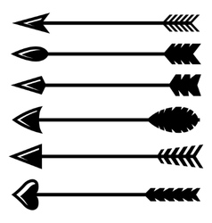 black bow arrow icons set vector image vector image