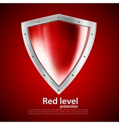 Bright red shield vector image