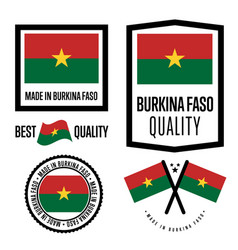 Burkina faso quality label set for goods vector