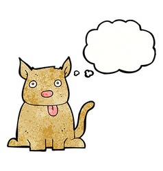cartoon dog sticking out tongue with thought vector image