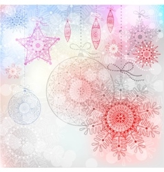 Christmas background with red snowflakes vector image