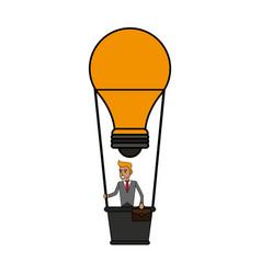 Color image cartoon ligth bulb hot air balloon vector