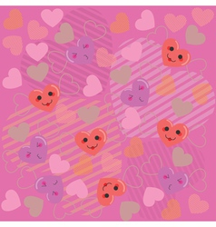Cute hearts pink pattern2 vector image