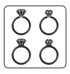 Diamond engagement ring icons set 4 vector
