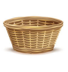 empty wicker basket without handles vector image vector image