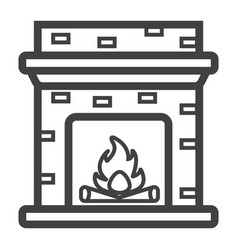 fireplace line icon furniture and interior vector image vector image