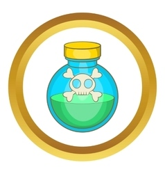 Glass bottle of green poison icon vector