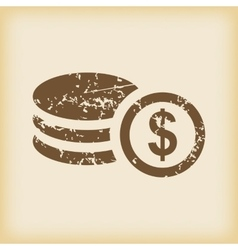 Grungy dollar rouleau icon vector