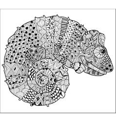 Hand drawn doodle outline chameleon vector