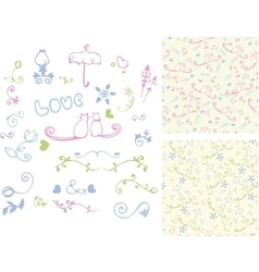 Hand drawn vintage design elements and seamless vector image