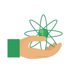 hand human with atom molecule vector image vector image