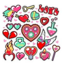 Hearts love badges stickers patches vector