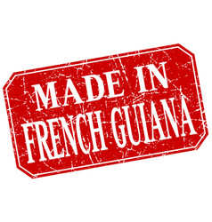 Made in french guiana red square grunge stamp vector
