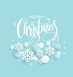 merry christmas blue background with papercraft vector image