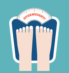 person bare feet measuring on weight scale vector image