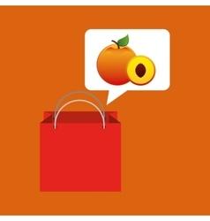red package juicy peach fruit vector image