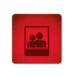 Red square button with frame photography with vector