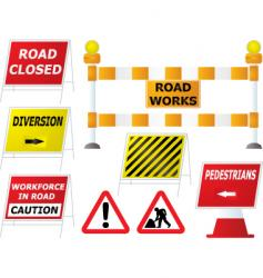 road work signs vector image vector image