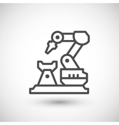 Robotic arm machine line icon vector