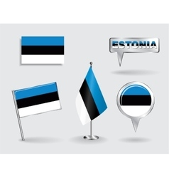 Set of estonian pin icon and map pointer flags vector