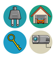 Set of smart home tecnology system icons vector
