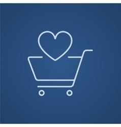 Shopping cart with heart line icon vector image