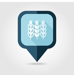 Spikelets of wheat flat pin map icon Map pointer vector image