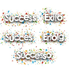 Success paper banners vector