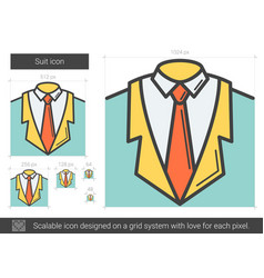 Suit line icon vector