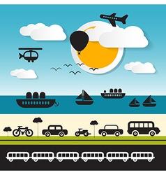 Transportation icons on landscape background vector