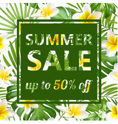 Tropical sale design with bright flowers vector