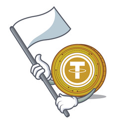 With flag tether coin mascot cartoon vector