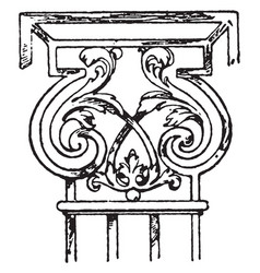 Wrought-iron pilaster capital wrought-iron vector