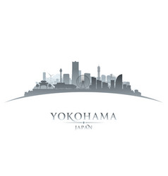 yokohama japan city skyline silhouette white vector image vector image