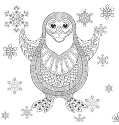 Zentangle stylized penguin the cheerful bird vector