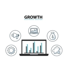 Growth business funding line icons vector