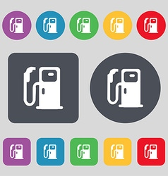 Fuel icon sign a set of 12 colored buttons flat vector