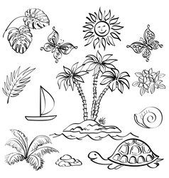 Set of exotic objects vector image