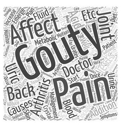 Gouty and back pain word cloud concept vector