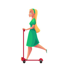 Young pretty blond girl woman in dress riding vector