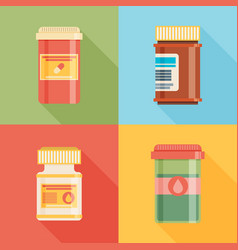 Pill bottles with various pills and capsules vector