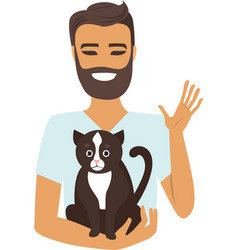 Young man with cat vector