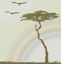 tree birds rainbow vector image