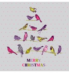 Retro Christmas Card - Birds on Christmas Tree vector image