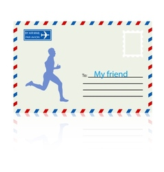 Silhouettes athlete runs on the mail envelope vector