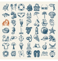 49 hand draw sketch summer icons collection vector
