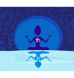 Yoga with ohm symbol over moon vector