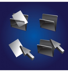 3d file and folder icons vector image