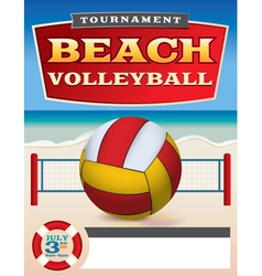 Beach volleyball tournament flyer vector