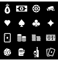White casino icon set vector
